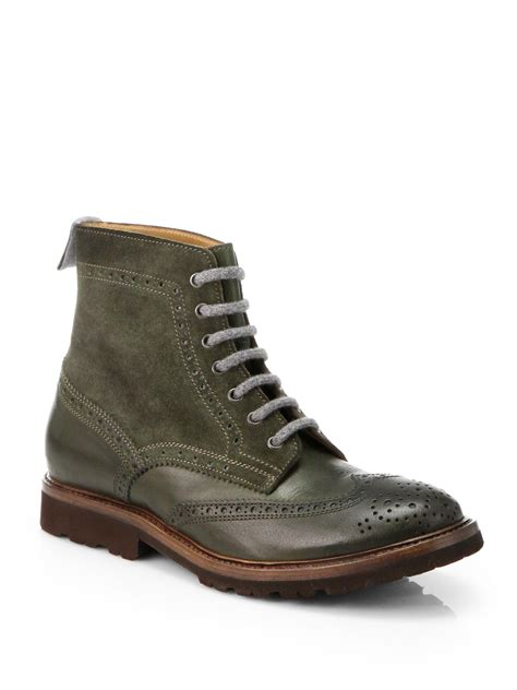 Leather Wingtip Boots brunello cucinelli leather suede wingtip boots in green