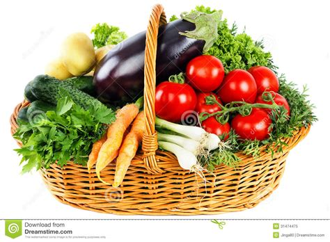 vegetarian baskets fresh vegetables in basket stock image image of isolated 31474475
