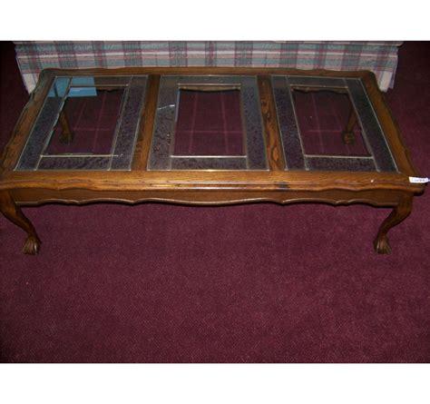 oak with glass top vintage oak glass top w ball claw feet