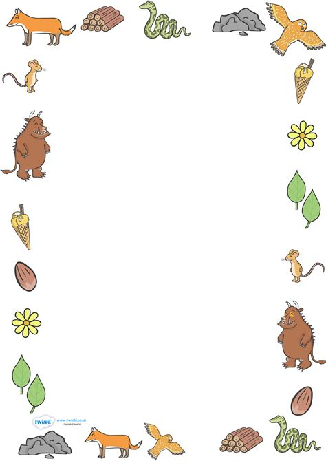 gruffalo writing paper twinkl resources gt gt the gruffalo page borders
