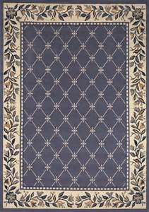 Blue Area Rugs Traditional Floral Blue Area Rug Lattice Border Carpet Ebay