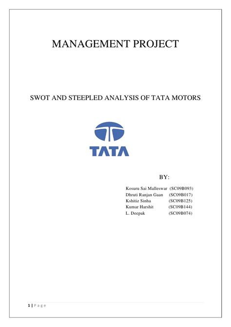 Tata Motors Project For Mba by Swot Analysis Of Tata Motors