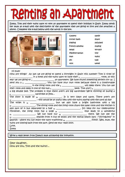 renting an apartment 12 free esl apartment worksheets