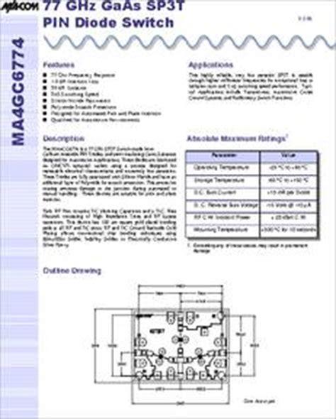 pin diode number ma4gc6774 datasheet sp3t gaas pin diode 77 ghz switch