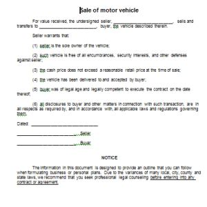 agreement of sale template for a vehicle sle sale of motor vehicle form blank sale of motor