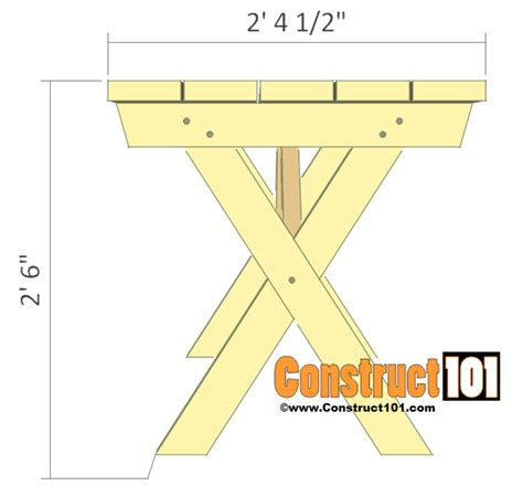 bench plan view picnic table bench plans construct101