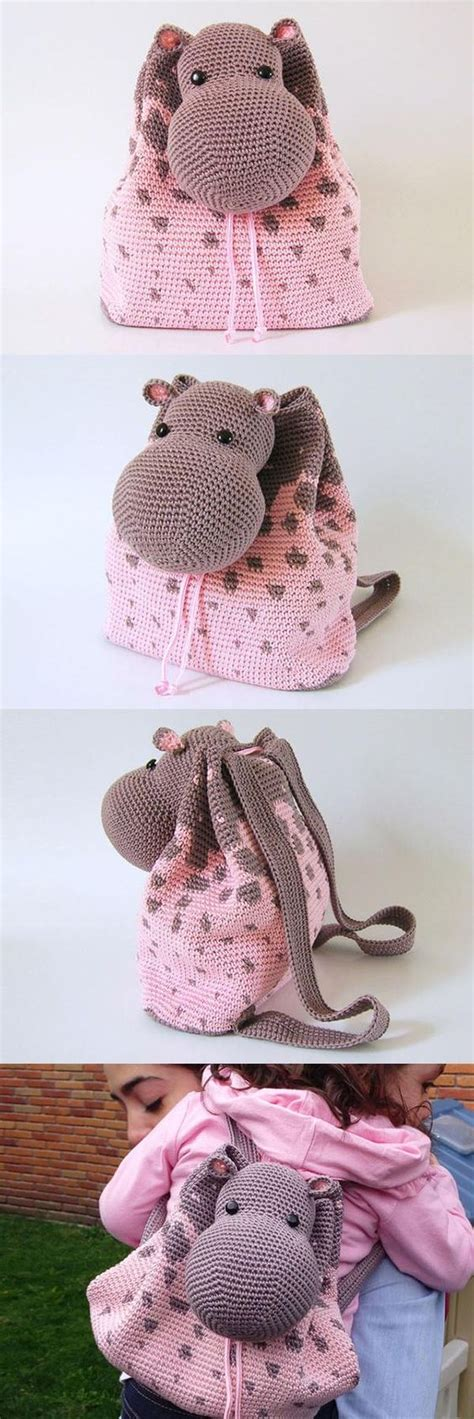 Hippo Backpack hippo backpack crochet pattern knitting crochet d箟y