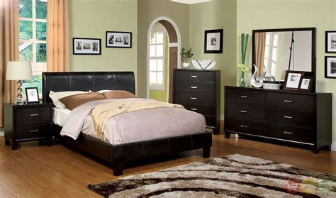 espresso bedroom furniture villa park contemporary espresso platform bedroom set with padded leatherette cm7007