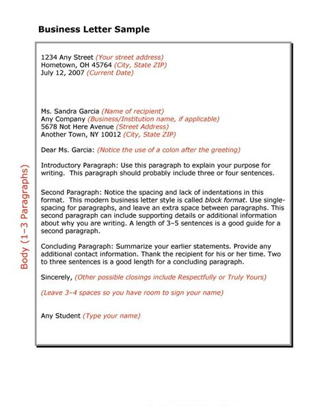 Business Letter Format 35 formal business letter format templates exles