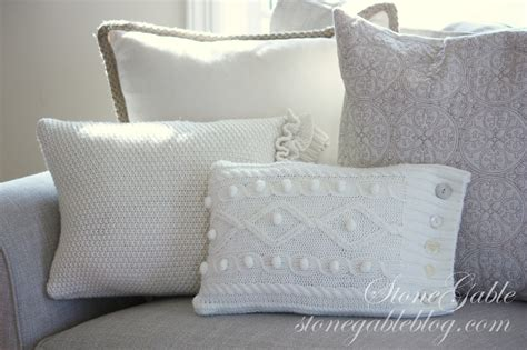 wintery sweater pillows stonegable