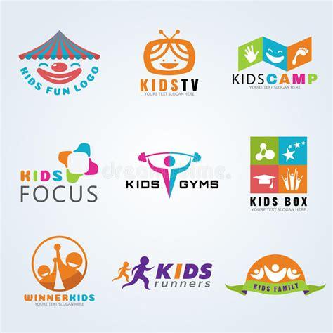 kids logo design stock illustration image of childhood kids child sport and fun logo vector set design stock