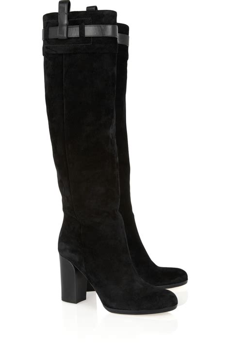 reed krakoff leather trimmed knee high suede boots in