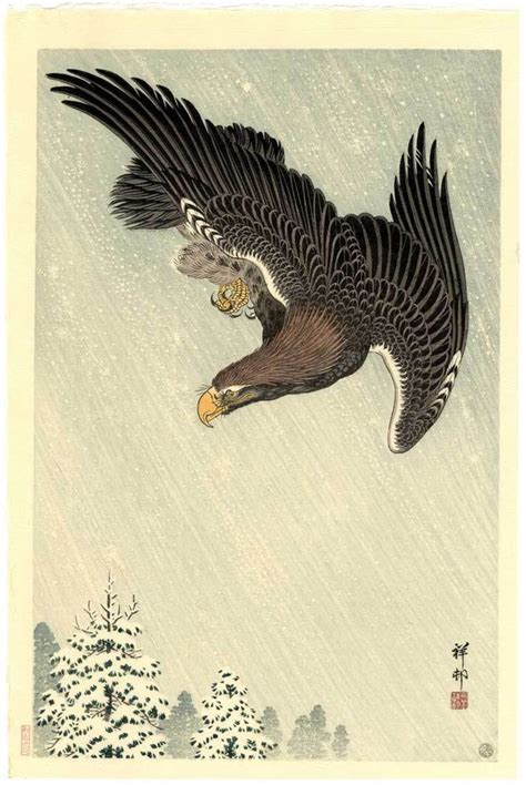 tattoo japanese eagle koson japanese woodblock print eagle in a snow storm 1933