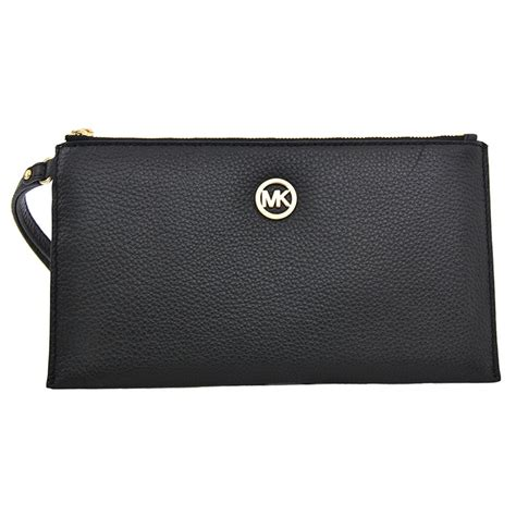 Michael Kors Fulton Wristlet michael kors fulton large zip clutch wristlet wallet black leather rank style