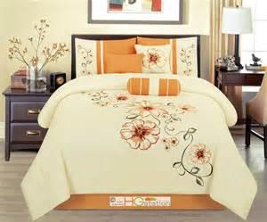 Orange Comforter Sets 7 P Embroidery Summer Floral Blossom Vine Comforter Set
