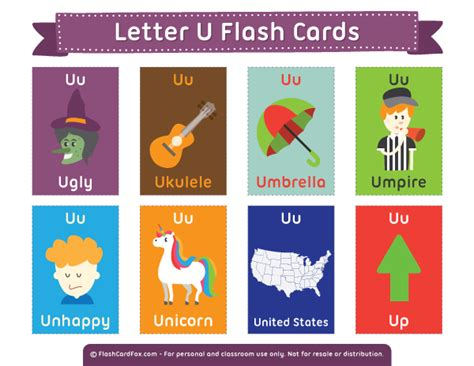 colors starting with u printable letter u flash cards