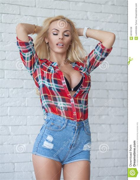 sexy woman blond hair stock photography image 10097442 muchacha rubia atractiva en pantalones cortos de un top