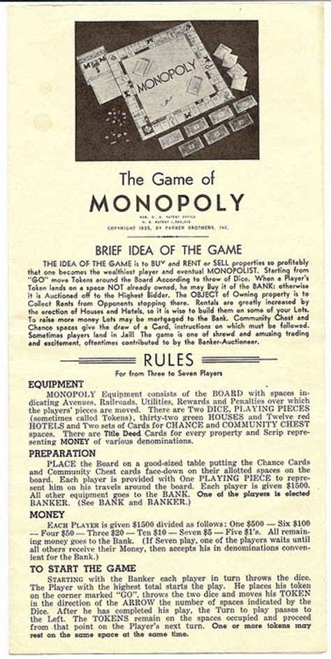 printable monopoly directions a very nice 1935 monopoly game single patent 1 509 312