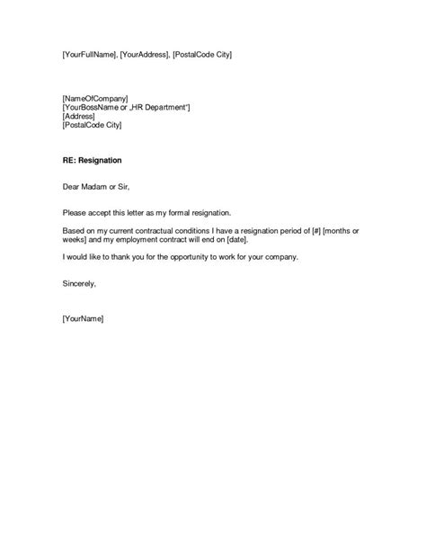 resignation letter format employment contract end date