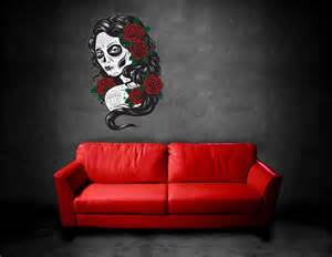 day of the dead home decor wall art sticker decal tattoo day of the dead sugar skull