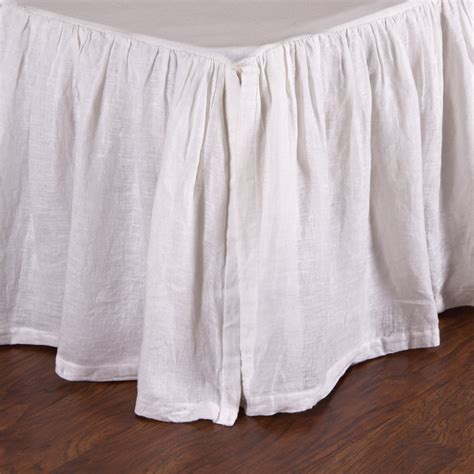 pom pom at home linen voile white bedskirt