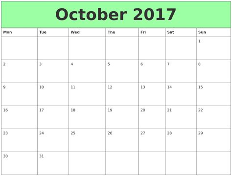 Calendar 2017 October Word October 2017 Printable Calendar Template Holidays Excel