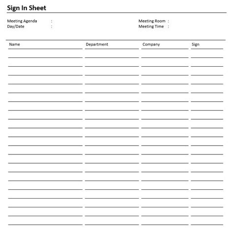 8 Free Sle Safety Sign In Sheet Templates Printable Sles Safety Sign In Sheet Template