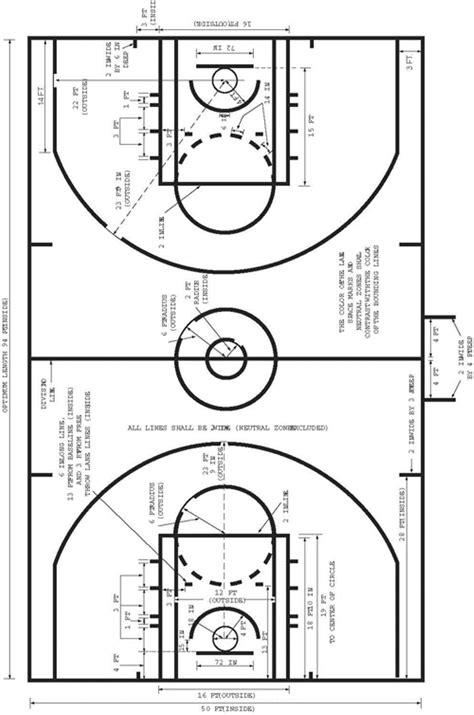 basketball measurements nba floor dimensions thefloors co