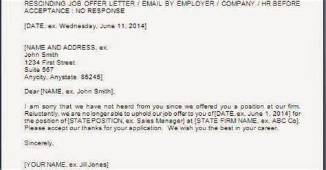 Offer Withdrawal Letter Employer Every Bit Of Offer Withdrawal Letter Format
