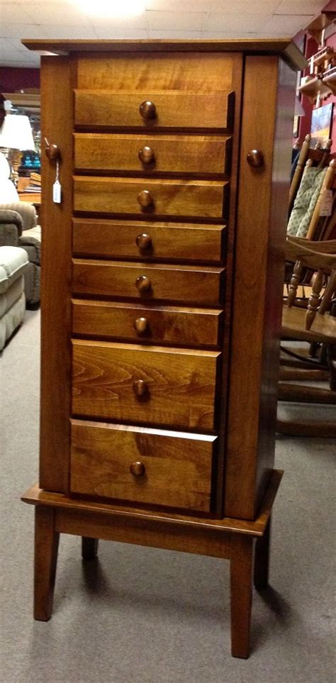 maple jewelry armoire 48 shaker jewelry armoire with 8 drawers maple amish