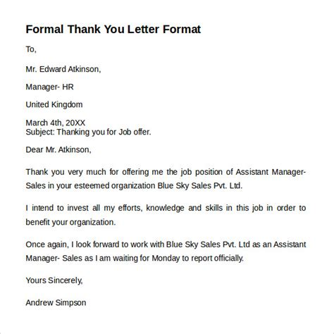 Thank You Letter Format Formal exle of a formal thank you letter thank