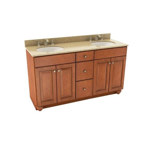 Silestone Bathroom Vanity American Woodmark Charlottesville 61 In Vanity In Cognac With Silestone Quartz Vanity Top In