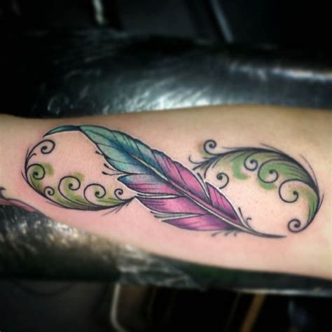 infinity tattoo with feather best 25 infinity feather tattoos ideas on