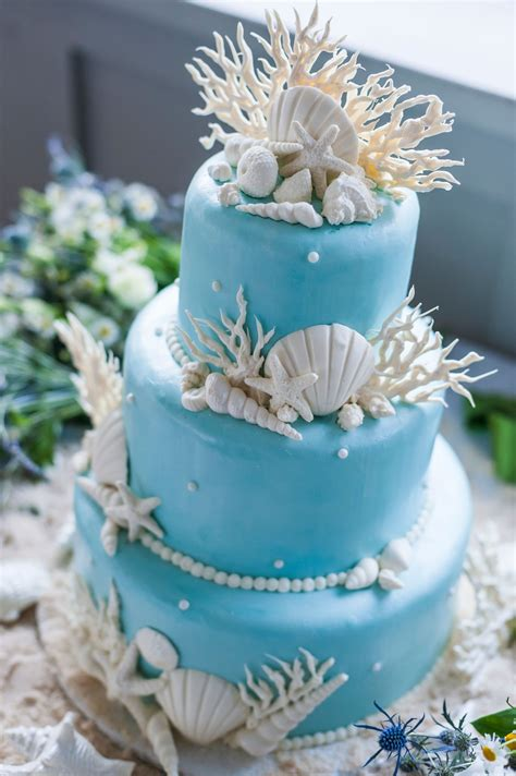 white seashell  coral decorated blue wedding cake