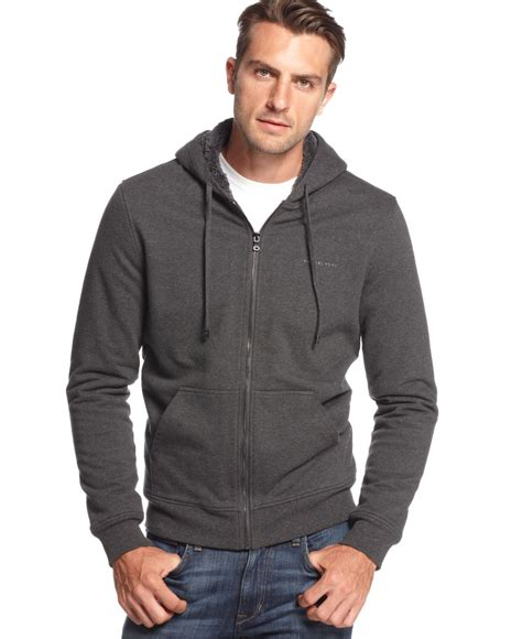 Hoodie Exclusive Hitam 1 michael kors sherpa zip hoodie a macy s exclusive in gray for lyst