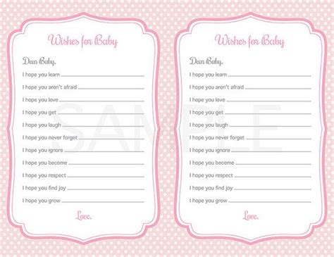 baby shower game printable pink polka dots wishes  baby