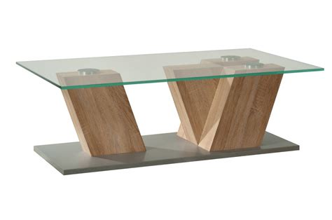 table en verre table basse verre bois