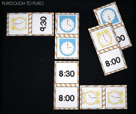 printable clock dominoes telling time activity pack playdough to plato