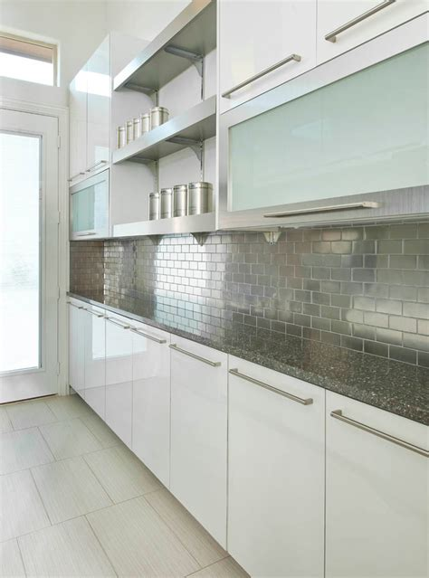 stainless steel tile backsplash kitchen contemporary with