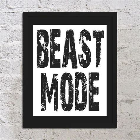 printable sports quotes beast mode motivational inspirational art print poster