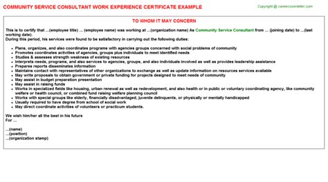 Community Service Experience Letter Technical Consultant Work Experience Certificates