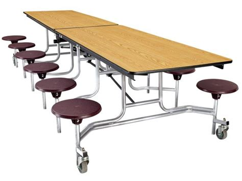 mobile folding cafeteria table with 12 stools