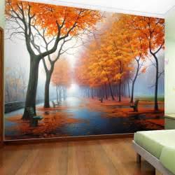 Nature Scene Wall Murals Aliexpress Com Buy Customized Photo Wallpaper 3d Autumn