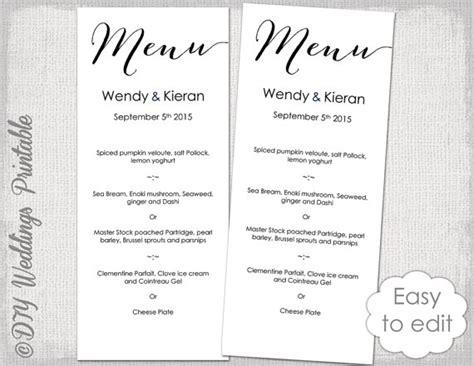 Wedding Menu Font Free by Wedding Menu Template Modern Calligraphy Script Black Menu Diy