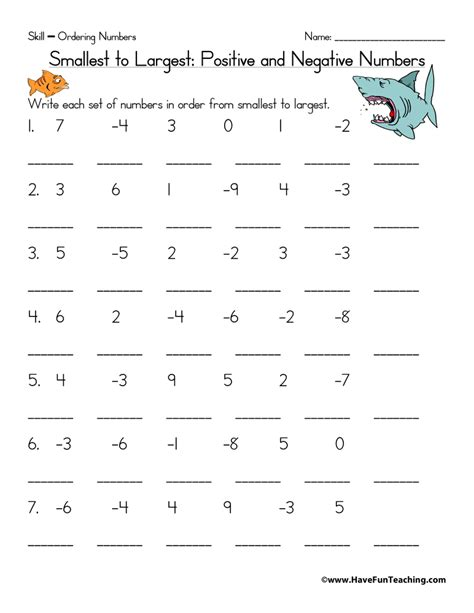 printable negative numbers games ordering positive and negative numbers worksheet have