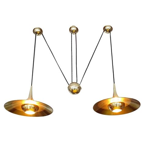 Counterweight Pendant Light Large Pair Brass Counterweight Pendant Light Modernist Design Chandelier For Sale At 1stdibs