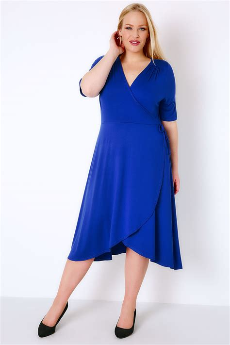 Idw079 Blue Size 16 5 royal blue wrap dress with sleeves plus size 16 to 32