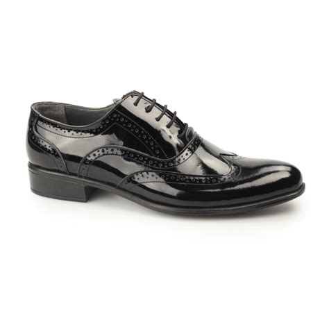 gucinari ernst mens patent leather brogue shoes black