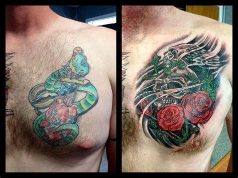 cover up tattoos before and after cover up before and after skull and roses cover
