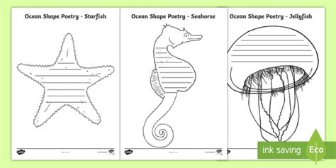 shaped writing template shape poetry writing template the sea